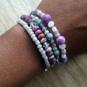 Purple and Silver Beaded Wrap Bracelet